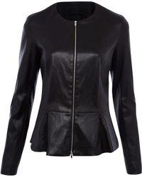 The Row Black Anasta Leather Peplum Jacket