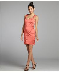 Vera Wang Lavender Burnt Orange Sateen Banded Sweetheart Party Dress - Lyst