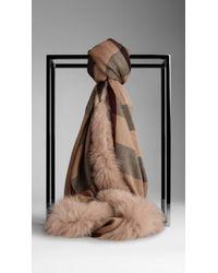 Burberry Fur Trim Cashmere Check Scarf - Lyst