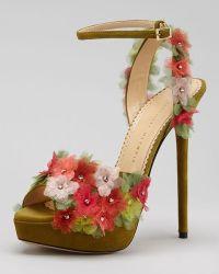 Charlotte Olympia Bryony Flower Anklewrap Platform Sandal - Lyst
