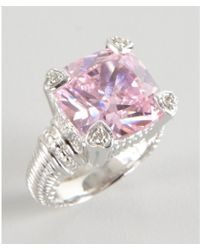 Judith Ripka Pink Crystal and Diamond Fontaine Ring - Lyst