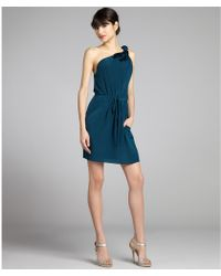 Rebecca Taylor Dark Teal Silk Sweet Rose One Shoulder Dress - Lyst