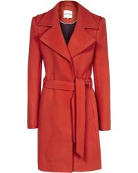 Reiss Lavina Textured Fit and Flare Coat - Lyst