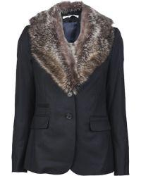 Veronica Beard Fur Collar Jacket - Black