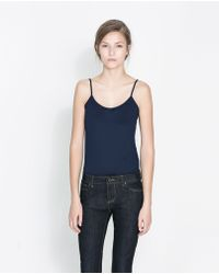 Zara Basic Printed Tank Top - Lyst