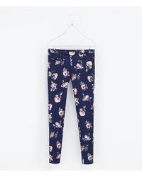 Zara Floral Print Trousers - Lyst