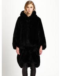 Acne Studios Faux Fur Hooded Oversized Coat - Lyst