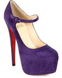 Christian Louboutin Lady Daf Suede Mary Jane Platform Pumps purple - Lyst