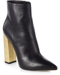 Michael Kors Stella Leather Metallic Leather Ankle Boots - Lyst