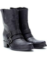 Miu Miu Texturedleather Biker Boots - Black