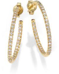 Roberto Coin Diamond & 18K Yellow Gold Hoop Earrings/1 - Lyst