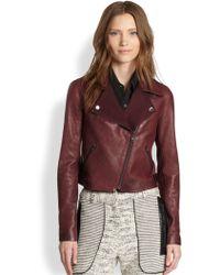 Sachin & Babi Salma Twillpaneled Leather Biker Jacket - Lyst