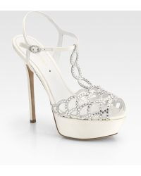 Sergio Rossi Crystal-Coated Satin T-Strap Sandals - Lyst
