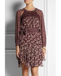 Étoile Isabel Marant Prewitt Leafprint Georgette Dress - Red