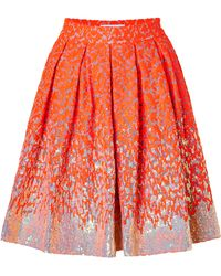 Matthew Williamson Sequined Brocade Skirt In Fluro Orange - Lyst