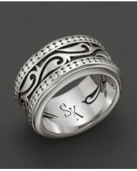 Scott Kay Mens Sterling Silver Engraved Sparta Band Ring - Metallic