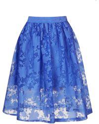 Topshop Burnout Midi Skirt blue - Lyst
