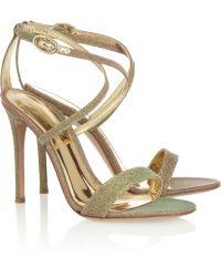 Gianvito Rossi Metallic Glittered Sandals - Lyst