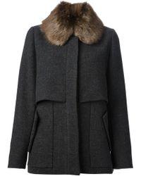 Marni Fur Collar Coat - Lyst