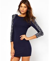 TFNC Bodycon Dress With Embellished Sleeve - Lyst