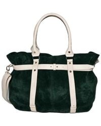 Tsm The Swedish Model Missy Balloon Suede Leather Tote Bi-Colour Green - Lyst