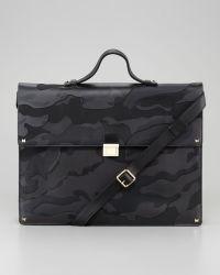 Valentino Rockstud Camo Briefcase - Green