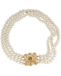 Carolee Goldtone Glass Pearl Crystal Medallion Threerow Necklace - Lyst