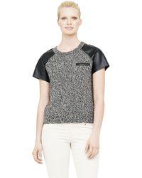 Club Monaco Samira Leather Sleeve Sweater - Lyst
