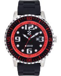 Izod Watch, Unisex Black Rubber Strap 55Mm Izs4-4Blk-Red
