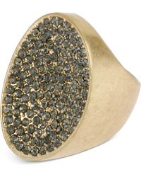 Kenneth Cole - Goldtone Pave Oval Ring - Lyst