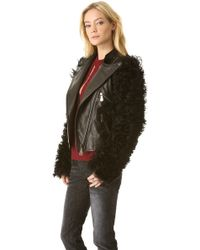 McQ Leather Jacket with Fur Sleeves - Black