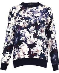 Paul Smith Black Label Navy Magnolia Pixel Print Silk and Wool Sweater - Blue