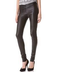 Alice + Olivia Alice + Olivia Zip Front Leather Leggings - Black - Lyst