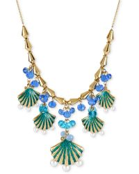 Betsey Johnson Sea Excursion Charm Necklace In Blue Blue