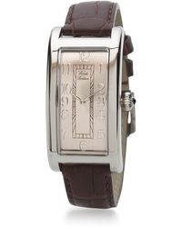 Brooks Brothers - Ladies' Rectangular Watch With Brown Band - Lyst