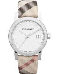Burberry Womens Swiss Nova Check Fabric Strap 34mm - Lyst