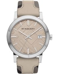 Burberry Womens Swiss Smoked Fabric and Smooth Trench Leather Strap 38mm - Lyst
