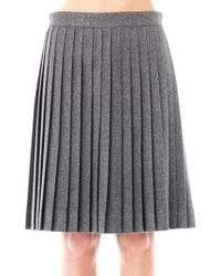 Freda Bella Wool Pleated Skirt - Gray