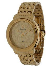 Glam Rock 40mm Gold Plated Flower Applique Dial Watch with 7link Bracelet - Metallic