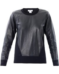 Helmut Lang Leather Panel Sweatshirt - Lyst