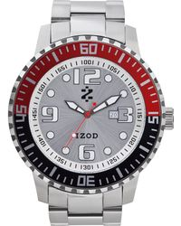 Izod Izod Watch Unisex Stainless Steel Bracelet 55mm Izs58redblk - Metallic
