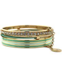 Jessica Simpson - Goldtone Teal Wrapped Bangle Bracelets - Lyst
