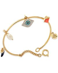 Juicy Couture - Goldtone Evil Eye Charm Bangle Bracelet - Lyst