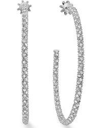 Juicy Couture Silvertone Pave Crystal Large Hoop Earrings - Lyst