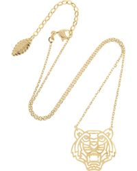 Kenzo Tiger Gold-plated Cubic Zirconia Necklace gold - Lyst