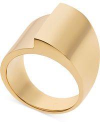 Michael Kors Goldtone Fold Over Ring - Lyst