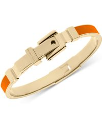 Michael Kors Goldtone Orange Epoxy Buckle Bangle Bracelet - Lyst