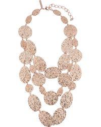Oscar de la Renta Rose Goldplated Hammereddisc Necklace - Lyst