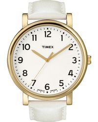 Timex® Womens Premium Originals Classic White Leather Strap 42mm T2p170ab - Lyst