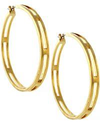 Vince Camuto - Gold Tone Open Hoop Earrings - Lyst
